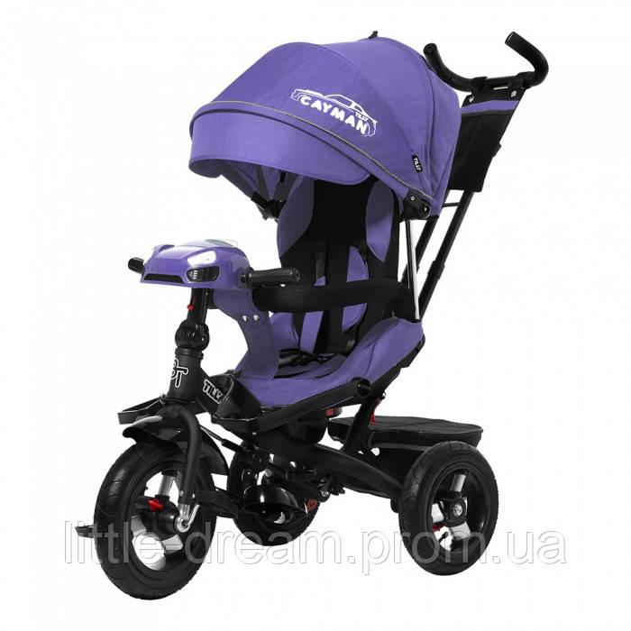 Трехколесный велосипед Tilly Cayman с пультом и усиленной рамой T-381/2 (фиолетовый) ткань лен