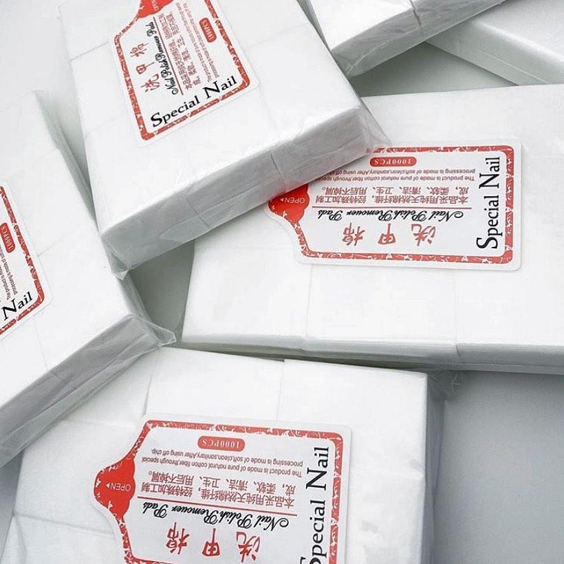 Безворсовые салфетки Nail Polish Remover Pads тканевые 4х6, 100 шт, белый