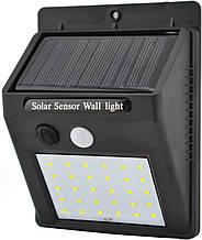 Фонарь светильник уличный настенный с датчиком движения и солнечной панелью LED 609-30