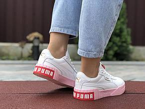 Женские кроссовки Puma Cali Bold,белые с розовым, фото 3