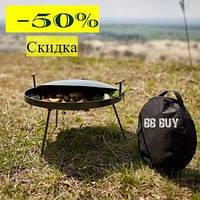 Сковорода туристическая из диска бороны 40см+(крышка и чехол) для пикника