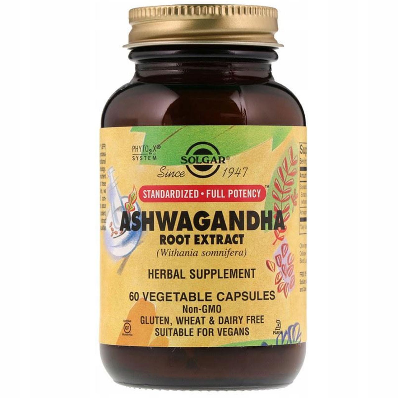 Solgar, Стандартизированный Экстракт из корня ашваганды, ашваганда 60 растительных капсул
