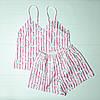 Женская пижама с майкой и шортами в полоску из премиум сатина  Арбузы на подарок девушке/подруге