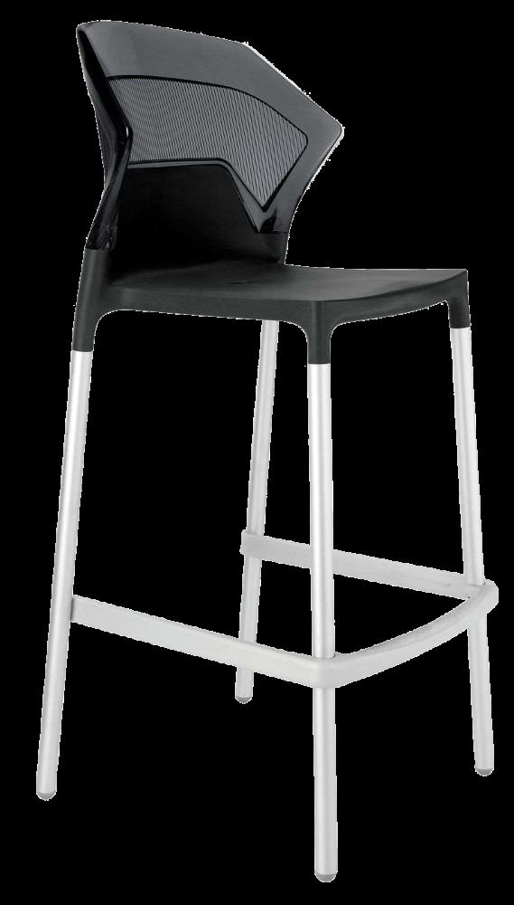 Барний стілець Papatya Ego-S чорне сидіння, верх прозоро-димчастий