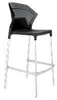 Барний стілець Papatya Ego-S чорне сидіння, верх прозоро-димчастий, фото 1