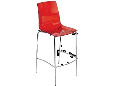 Барний стілець Papatya X-Treme BSL прозоро-червоний
