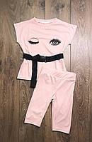 Летний модный трикотажный костюм для девочки