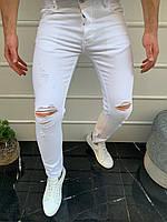 Мужские джинсы белые рваные 18250