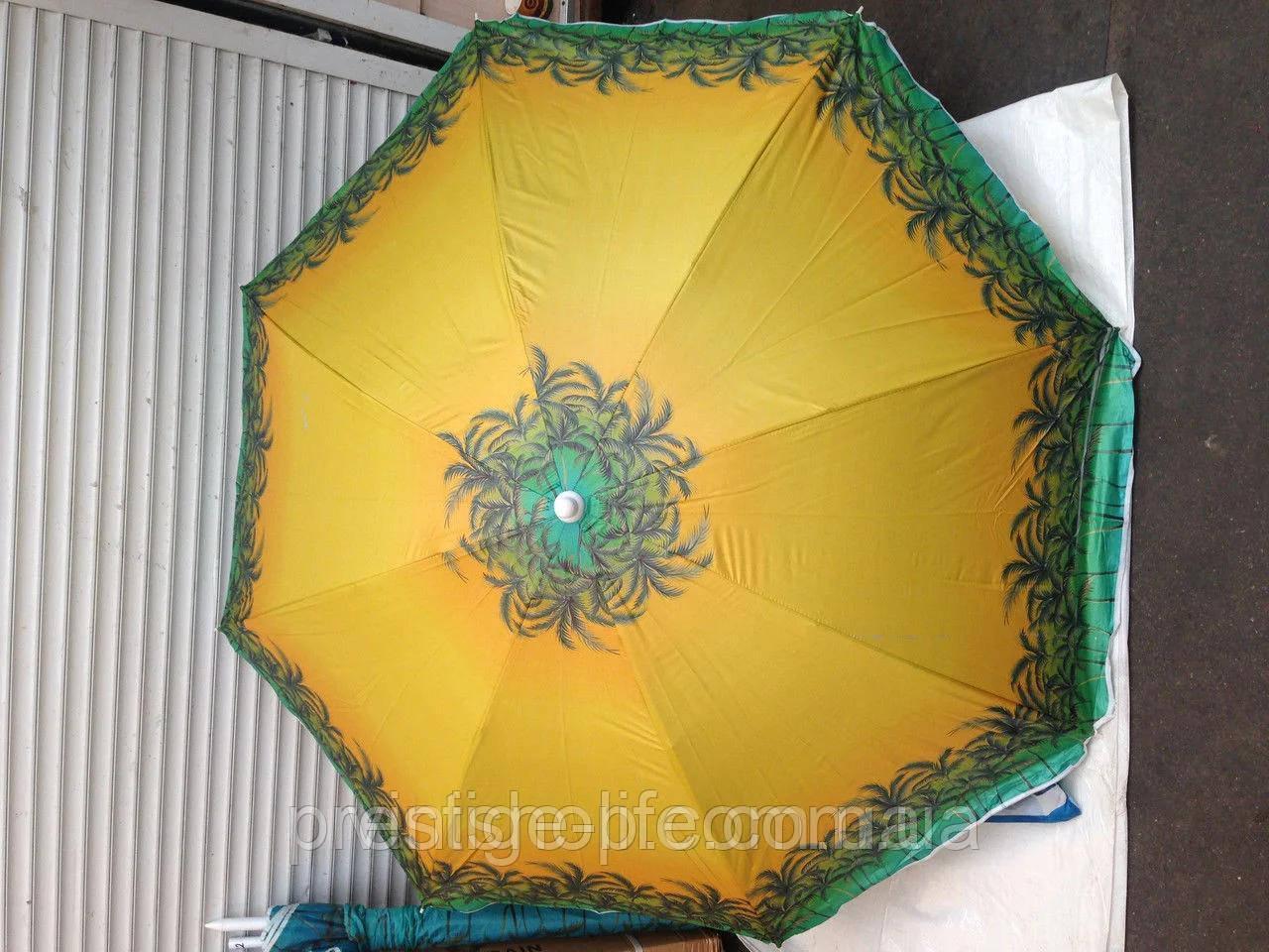 Зонт диаметром 1,7 м. Пластиковые спицы. Серебренное покрытие. Пальмы, фон Жёлтый