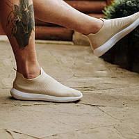 Бежевые кроссовки носки в стиле balenciaga текстильные в стиле высокие летние без шнурков мужские
