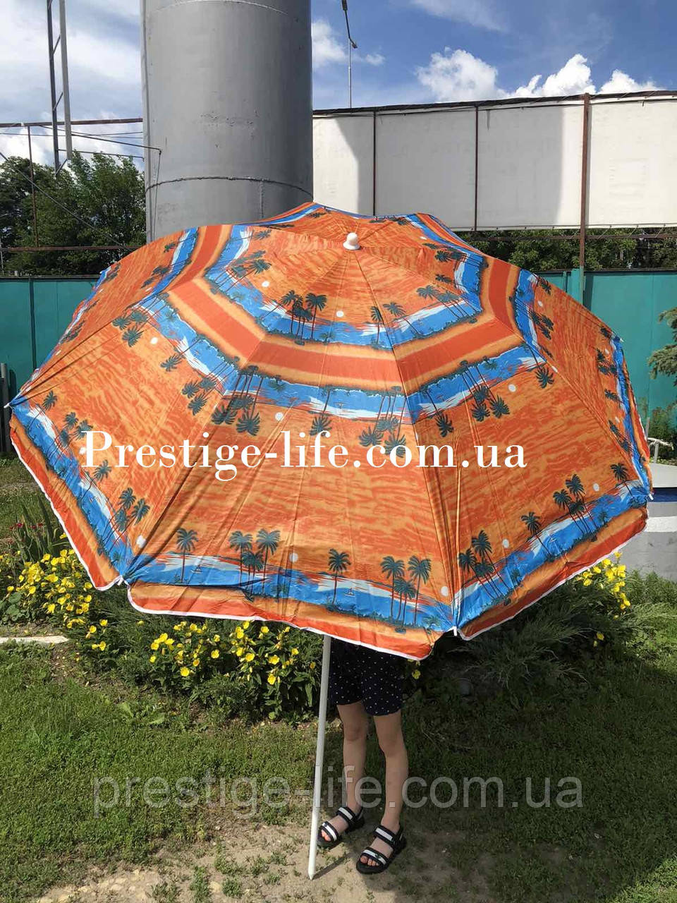 Зонт диаметром 1,7 м. Серебренное покрытие. Система ромашка. Пальмы, фон Оранжевый