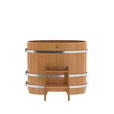 Купель для бани овальная натуральная лиственница BENTWOOD 760X1160 светлая 480 литров, фото 3