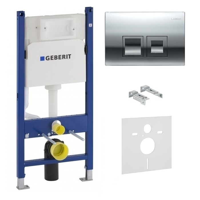 Комплект GEBERIT: Duofix монтажный комплект, Delta 50 Смывная клавиша, пластик, хром глянц.