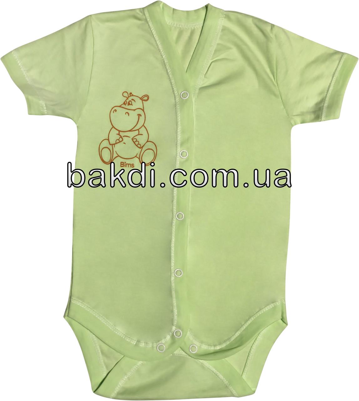 Детское летнее тонкое боди рост 68 3-6 мес кулир салатовое на мальчика девочку бодик с коротким рукавом для новорожденных малышей С054