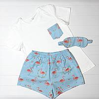 Женская пижама из белой футболки и шортиков с фламинго на подарок для девушки M
