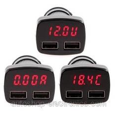 Двойное USB зарядное для автомобиля + ТЕСТЕР (U-вольт,A-ампер,°C) с красным дисплеем