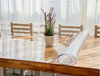 Мягкое стекло Прозрачная силиконовая скатерть на стол Soft Glass Защита для мебели 1.0х1.0 м Толщина 1.5мм