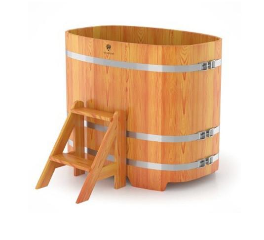 Купель для бани овальная натуральная лиственница BENTWOOD 760X1160 светлая 480 литров