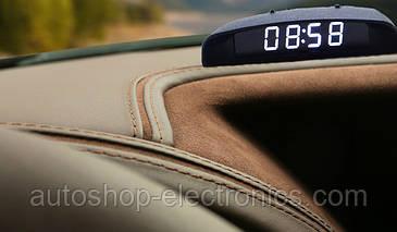 Электронные автомобильные часы + температура + напряжение - БЕЛЫЙ ДИСПЛЕЙ