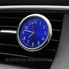 Автомобильные часы в решетку воздуховода или на скотч к поверхности - СИНИЙ ЦИФЕРБЛАТ