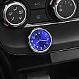 Автомобильные часы в решетку воздуховода или на скотч к поверхности - СИНИЙ ЦИФЕРБЛАТ, фото 2