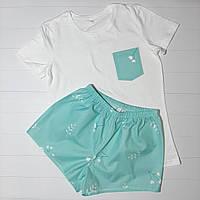 """Женская пижама из футболки и шортиков """"Цветочки белые на мятном"""" на подарок для девушки M"""