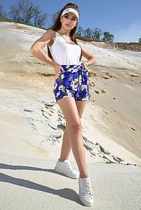 Короткие летние женские шорты с цветочным принтом