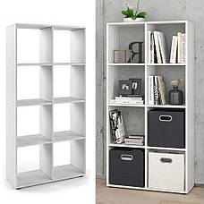 Стеллаж для дома, перегородка, книжный шкаф из ДСП 8 открытых отсека, Бетон, фото 2
