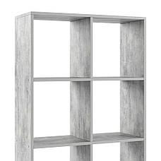 Стеллаж для дома, перегородка, книжный шкаф из ДСП 8 открытых отсека, Бетон, фото 3