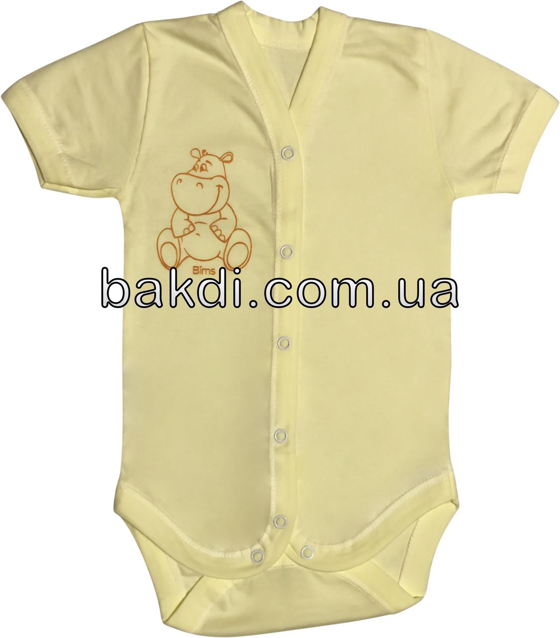 Детское летнее тонкое боди рост 62 2-3 мес кулир жёлтое на мальчика девочку бодик с коротким рукавом для новорожденных малышей Ж054