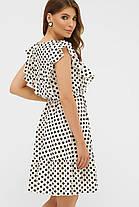 Милое летнее платье в горошек с резинкой в талии, размер от 42 до 48, фото 3