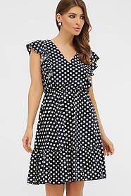 Милое летнее платье в горошек с резинкой в талии, размер от 42 до 48