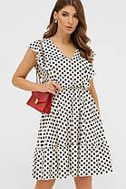 Милое летнее платье в горошек с резинкой в талии, размер от 42 до 48, фото 2