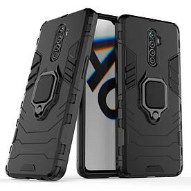 Чехол накладка для Realme X2 Pro противоударный силикон и пластик, Robot Case, Черный