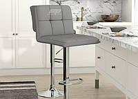 Кресло Даниэль, высокий, хром, экокожа серого цвета. Кресла для салонов красоты и парикмахерских