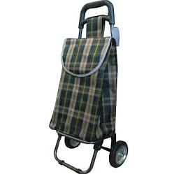 Небольшая сумка-тележка на колёсах Luna Клетчатая Зелено-коричневая (B401)