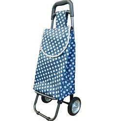 Небольшая сумка-тележка на колёсах Luna Синяя Горох (B402)