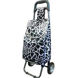 Небольшая сумка-тележка на колёсах Luna Черно-белая (B403)