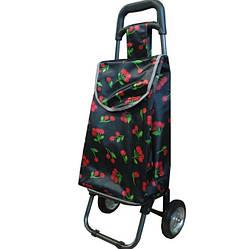 Небольшая сумка-тележка на колёсах Luna Черная Вишни(B404)