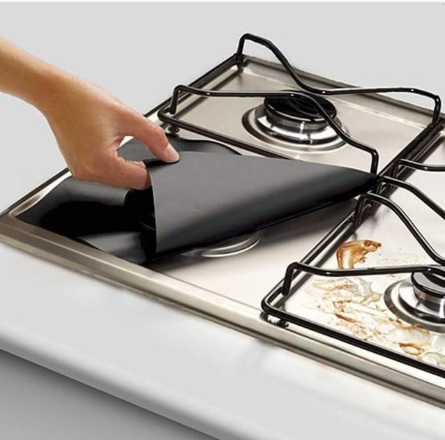 Тефлоновые накладки Soft Teflon 30х30 cм для газовых плит черные 4 шт