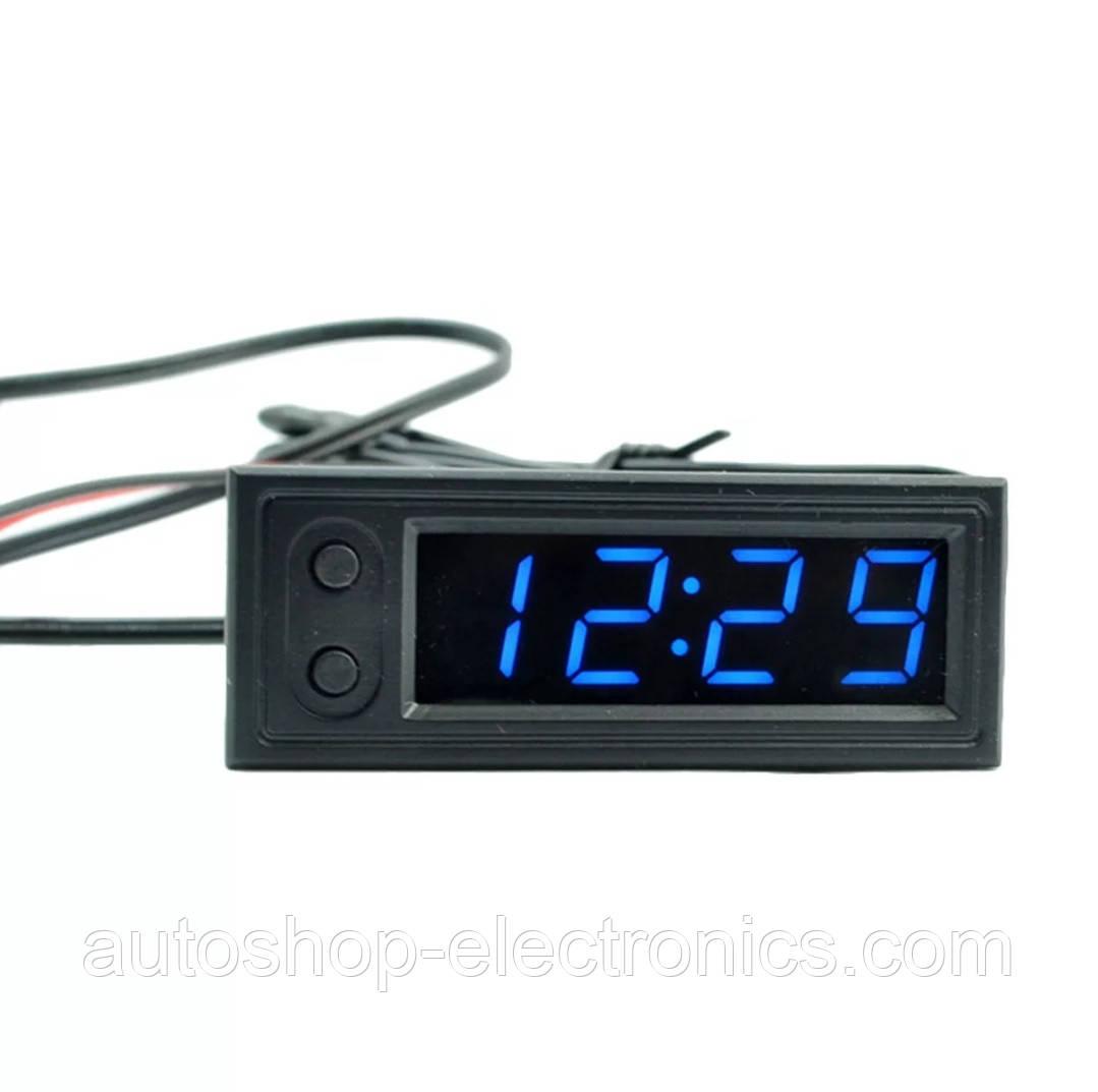 Врезные автомобильные часы / вольтметр / 2 датчика температуры (внутренний и наружный)