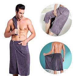 Полотенце банное Mallory для мужчин килт на липучке Серый140х70 см (Я303)