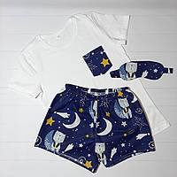 """Женская пижама из трикотажной футболки и шортиков """"Мишки на звездном небе на темно-синем"""" S"""
