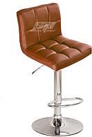 Кресло Даниэль, высокий, хром, экокожа коричнева. Кресла для салонов красоты и парикмахерских, для визажистов.