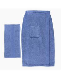 Полотенце банное Mallory для мужчин килт на липучке + полотенце для рук Голубой 140х70 см (Я304)