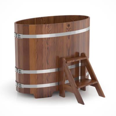 Купель для бани овальная мореная лиственница BENTWOOD 800X1420 темная 650 литров, фото 2