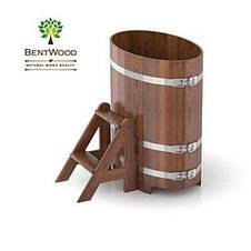 Купель для бани овальная мореная лиственница BENTWOOD 800X1420 темная 650 литров, фото 3