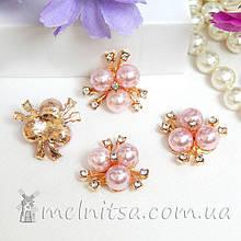 Стразовый декор 3 жемчужинки, 21 мм, светло-розовый