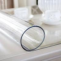 Мягкое стекло Силиконовая защитная скатерть для стола и мебели Soft Glass (1.0х1.0м) толщина 1,5мм Прозрачная