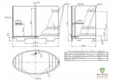 Купель для бани овальная натуральная лиственница BENTWOOD 800X1420 светлая 650 литров, фото 3